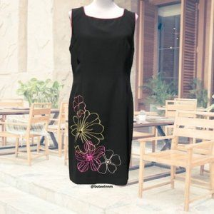 Sheath Dress Floral Embroidered Sequin Sleeveless